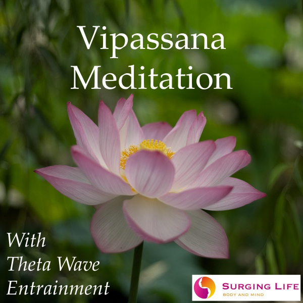 The Guided Vipassana Meditation mp3 with optional Theta Wave Music from SurgingLife